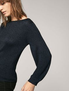Spring summer 2017 Women´s EMBELLISHED SWEATER WITH PUFF DETAIL at Massimo Dutti for 89.5. Effortless elegance!