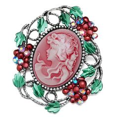 Pugster Classic Antique Lady Maiden Profile July Oval Beauty Head Cameo Floral Light Red Swarovski Crystal Diamond Accent Brooches And Pins Pugster. $15.49. Exquisitely detailed designer style with Swarovski cystal element.. Occasion: casual wear,anniversary, bridal, cocktail party, wedding. One free elegant cushioned Gift box available with every order from Pugster.. Can be pinned on your gown or fastened in your hair with bobby pins.. Money-back Satisfaction ...