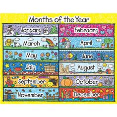 Looking for a Printable Months Year Chart. We have Printable Months Year Chart and the other about Printable Chart it free. Preschool Monthly Themes, Preschool Activities, Days And Months, Months In A Year, 12 Months, Ol Days, Moths Of The Year, Lakeshore Learning, Carson Dellosa