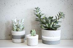 Zestaw betonowych doniczek w rozmiarach S, M, L.  Sprzedawany jest bez roślin.  Wykonany i malowany  własnoręcznie w naszym starym, rodzinnym warsztacie.   Kolor wzoru: szary mat, biały mat Wzór: pasy  Kupując w zestawie płacisz o 15% mniej. (Cena doniczek 55 L, 45 M, 35 S = 135zł, a w zesta...