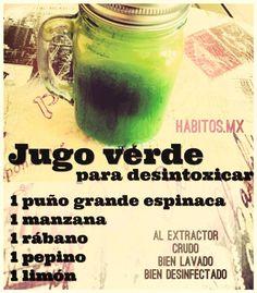 Jugo verde para DESINTOXICAR: espinacas, manzana, rábano, pepino y limón