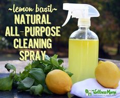 Lemon Basil Natural Cleaning Spray (Borax Free) - This inexpensive homemade natural cleaning spray is borax free and combines natural ingredients of organic vinegar, essential oils, and filtered water!