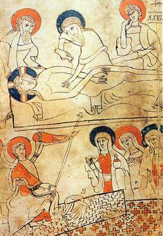 Imagem do Codex Pray (Biblioteca Nacional da Hungria - Budapeste), manuscrito de 1192-95. O Codex foi feito sob o reinado de Bela III da Hungria, que foi educado em Constantinopla (o cruzado Robert de Clari, que participou da tomada de Constantinopla, em 1204, diz que às sextas-feiras o Sudário era exposto na cidade). O Codex pode servir como prova da existência do Sudário antes de 1260, a data mais antiga alegada pelos testes de carbono 14.