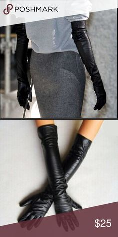Black long leather gloves Elbow length, faux leather black gloves. PRICE IS FIRM! Accessories Gloves & Mittens