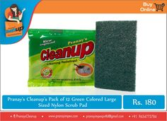 Pranay Cleanup's #Sponge pad for efficient #cleaning with minimal effort. This pack of 12 Green Colored Sponges in Large size provide for a better grip while kitchen cleaning. Made with #premium nylon #material for a longer life and quick cleaning.