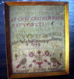 ANTIQUE SAMPLER - ELENOR SMITH - 1800'S