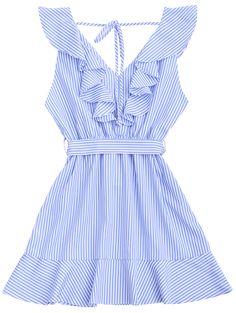 Ruffle Hem Striped Belted Dress - Ruffle Hem Striped Belted Dress – STRIPE M Source by katihellen -