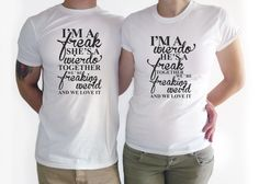COUPLES T SHIRT. Im a weirdo shirt. Funny couple t shirt. BFF shirt gift. Best friend gift We go together Wedding gift matching shirt gift by Crafteri on Etsy