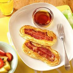 Surprise the kids with something new for breakfast: fun, dippable pancake sticks with crispy bacon.