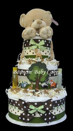 Pamper Mommy and Baby-to-Be with our adorable Enchanted Forest Animals Diaper Cake. This precious diaper cake is made with 54 Pampers Swaddlers Dia Baby Shower Diapers, Baby Boy Shower, Baby Shower Gifts, Baby Gifts, Forest Baby Showers, Teddy Bear Party, Diy Diaper Cake, Diaper Cake Centerpieces, Baby Sprinkle