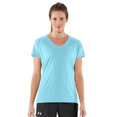 Updated UA Tech™ fabric has a softer, more natural feel for incredible all-day comfort. Signature Moisture Transport System wicks sweat to keep you dry and light. Anti-odor technology keeps your gear fresher, longer. Extended body length delivers the perfect amount of coverage. Raglan sleeves unlock mobility for serious range of motion. Deep V-neck collar & slimmer fit deliver a sleeker, more feminine silhouette. 3.9 oz Polyester. Imported.
