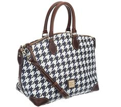 Carry this bag with confidence--any way you choose. With double handles and an adjustable shoulder strap, Dooney & Bourke gives you options on this stylish satchel. The contemporary houndstooth print goes great with the leather trim to give you a chic look. From Dooney & Bourke. QVC.com