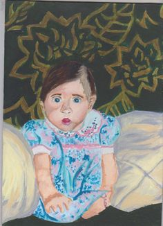 A4 Self Portrait in Acrylic for my FMP 2015 - Me aged 3 months at home