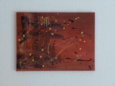 """""""TerraArt"""" Moderne Kunst - handgemaltes Bild, Acrylmalerei auf Leinwand Keilrahmen in terrakotta schwarz und gelb von Susannes Kreativ-Lädchen auf DaWanda.com"""