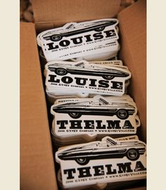 "THELMA AND LOUISE BUMPER STICKers . . . ""we're not in the middle of nowhere. . but we can see it from here"" . . . the junk gypsy co"