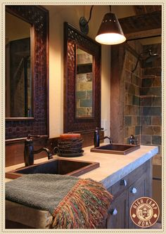 Love this for our log home. Sinks, countertops, mirrors, slate shower.