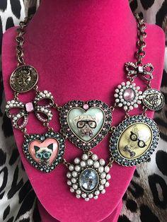 Betsey Johnson Cameo Critters Pug Dog Jaguar Siamese Cat Pearl Bow Nerd Necklace #BetseyJohnson #Statement