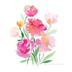 Flower Bouquet- Watercolor Art Print (26 CAD) ❤ liked on Polyvore featuring home, home decor, flowers, filler y backgrounds