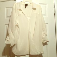 3X White Sheer Blouse 3X DGNY White Crossover top with snap button and strapped sleeves. Never worn (no tags) DGNY Tops Blouses
