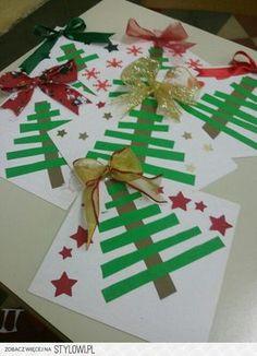Kids Crafts Easy Christmas - Christmas DIY Crafts for kids. Ribbon On Christmas Tree, Christmas Tree Crafts, Noel Christmas, Christmas Projects, Holiday Crafts, Christmas Decorations, Simple Christmas, Homemade Christmas Crafts, Preschool Christmas Crafts