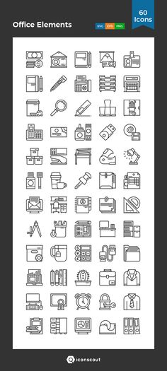 Office Elements  Icon Pack - 60 Line Icons