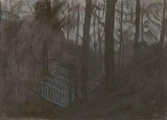 """Mykolé, """"Arena"""", 2012, 26 x 36 cm, Pastels, ink, paper. Contemporary landscape paintings."""