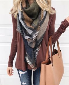 Love the earth tones and scarf!