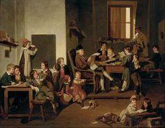 """""""L'heure de la lecture"""". Joseph Beaume (1798 - 1885), French painter."""