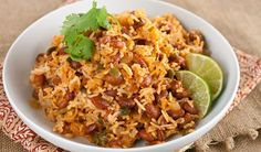 Mexican Rice and Beans Made this recipe to serve with tacos/burritos... super yummy & easy to make. It was hit with the family of picky eaters too! I love this guy's recipes!