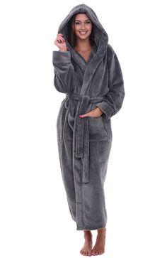 Womens Fleece Robe- Long Hooded Bathrobe - Steel Grey - CO12ENLZK3Z 7bd869b6f