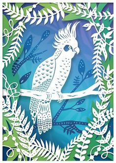 This is a 5x7 archival quality fine art print of my original papercut illustration of a cockatoo! The piece is made from several layers of handcut paper, which were carefully assembled into a shadowbox. Each paper layer has been scanned to create this reproduction print. The print, while flat, has all the shadows and depth of the original shadowbox (and really looks dimensional!) The print is on beautiful heavyweight matte fine art paper (I use Hahnemuhle fine art paper) and printed with…