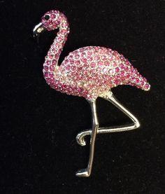 "Vintage Eisenberg Ice Pink Flamingo Rhinestone Brooch   2 1/4"" (x) 1 1/2"" inches #Eisenberg #Vintage"