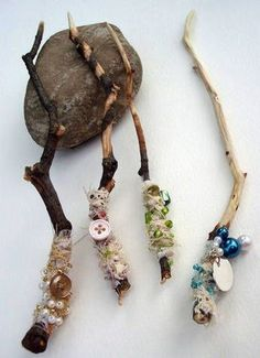 "I love these! Fairy Wands with sticks, beads & scraps of fabric ("",)"