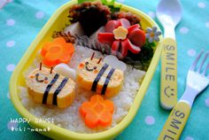 「ミツバチさんのお弁当(キャラ弁、デコ弁)」の画像|HAPPY DAYS! |Ameba (アメーバ) Cute Bento Boxes, Japanese Lunch Box, Kids Menu, Cute Food, Xmas Decorations, Food And Drink, Cooking, Breakfast, Recipes