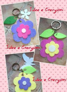 Felt Crafts, Diy And Crafts, Arts And Crafts, Felt Flowers, Fabric Flowers, Felt Keychain, Shots Ideas, Pencil Toppers, Summer Crafts For Kids
