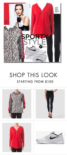 """""""Go Sporty: Leggings"""" by beebeely-look ❤ liked on Polyvore featuring Joseph Ribkoff, NIKE, country, sporty, sportystyle, premiereavenueboutique and JosephRibkoff"""
