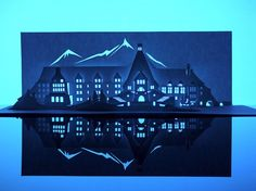 "Paper artist Marc Hagan-Guirey has created The Shining's Overlook Hotel from a single sheet of paper. The piece is part of his ""Horrorgami"" series of 13 haunted houses, which will be on display at London's Gallery One-And-A-Half from November - Uses Of Paper, Diy Paper, Paper Crafts, Paper Pop, Kirigami, Beetlejuice, Famous Haunted Houses, Pop Up, Film Home"
