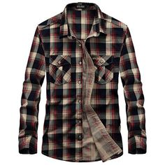 Casual Loose Fit Cotton Turn-Down Collar Long Sleeve Plaid Dress Shirt... ($34) ❤ liked on Polyvore featuring men's fashion, men's clothing, men's shirts, men's casual shirts, men, tops, shirts, mens pocket t shirts, mens green dress shirt and mens dress shirts