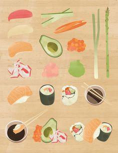Sushi Illustrations by Alex Garey, via Behance