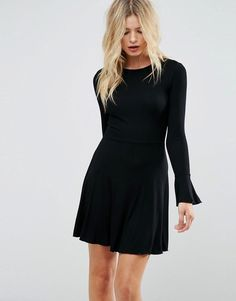 #ASOS - #ASOS ASOS Mini Skater Dress with Frill Cuffs - Black - AdoreWe.com