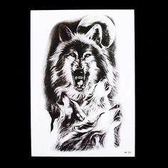 1pc Fake Tattoo Temporary 2017 Hot Moon Wolf Howl Picture HB320 Design Cool Women Men Body Back Arm Art Tattoo Sticker Decor New