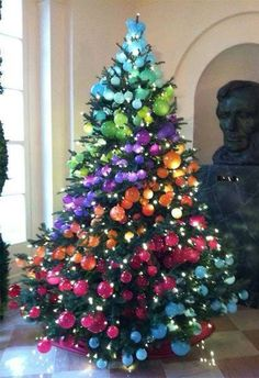 Rainbow Christmas Tree White House Christmas Tree Tree Costume Xmas Trees Cool Christmas Trees Christmas Decorations House Trees Holiday Decorating ... & 6 Impressive Inexpensive Christmas Decorating Ideas | Jewel tones ...