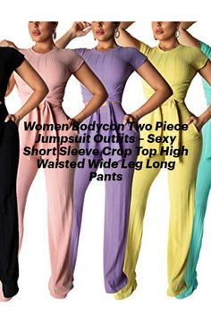 Women's Sexy Short Sleeve Stripes Crop Tops Tshirt Stretch Long Pants Set Two Piece Outfits Jumpsuits Wearing our sexy short sleeve 2 piece jumpsuits, they are designed with both comfortable and fashionable, it make you be an attractive female at any occasion. #pants #shortsleeve #crops #pants #jumpsuits #outfits 2 Piece Romper, 2 Piece Jumpsuit, Jumpsuit Outfit, Two Piece Outfit, Cheap Deals, Bell Bottom Pants, Cute Crop Tops, Striped Crop Top, Sexy Shorts