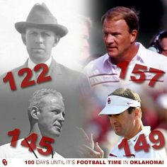 OU only school to have FOUR head coaches with over 100 wins. BOOMER SOONER. Bennie Owens Wilkinson Switzer Stoops Present (with 160 as of today). Oklahoma University Football, National Football Teams, Ohio State Football, Football Boys, Football Season, College Football, Sports Ohio, American Football