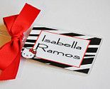 Personalized tags for garment bags.