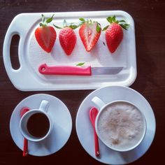 Red and white #strawberry #coffee #milk #breakfast