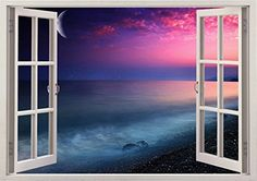 """Hynotizing Pink Sunset Ocean Beach Sea Scape View Home Office Kitchen Kids Nursery Room Gift 3D Unique Window Depth Style Vinyl Print Removable Wall Sticker Decal Mural Size 24"""" x 34"""" by Bomba-Deal Bomba-Deal http://www.amazon.com/dp/B00MH43P0Y/ref=cm_sw_r_pi_dp_1JHuub0DWGR84"""