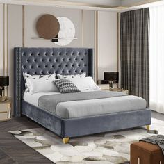 Fabric King Size Bed, All Modern Furniture, Furniture Ideas, Meridian Furniture, Big Sofas, Bedroom Sets, Gold Bedroom, Teen Bedroom, Bedroom Inspo
