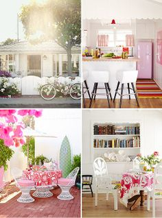 Jazz up beachside with a bright color. I would have picked lime green, but pink can be cool. (californian beach cottage by the style files, via Flickr)