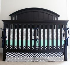 Custom Crib Bedding - Mint, Navy, And Grey Baby Bedding 2